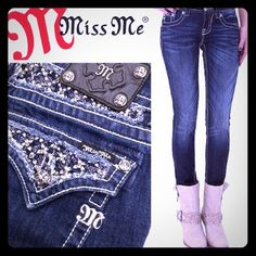 Miss Me. 27/31. Skinny. Dark Blue. Bling!! Miss Me. Skinny. Size 27. Inseam 31. Dark Blue. Excellent condition like new wear once, no tear hole stain frey;  MINT!!! NO TRADE. Shop my fab closet, bundle and save! FABULOUS BLING!! Miss Me Jeans Skinny