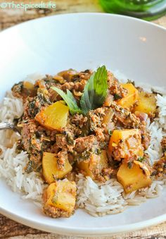 Pineapple Kheema (Indian Ground Beef Curry) with Kale and Panch Phoron