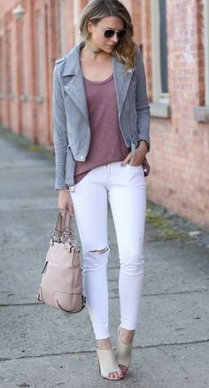 8904640efb16 Grey Suede jacket Grey Suede Jacket, Gray Jacket, White Pants Outfit, White  Distressed