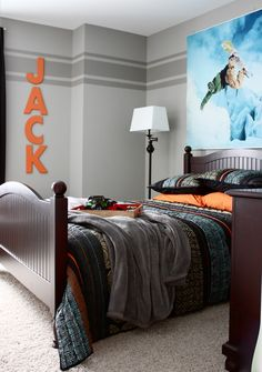 "DS bedroom idea - ""For this project I used two paint colors, a base color (Dorian Gray, Sherwin Williams) and an accent color (Dovetail, Sherwin Williams). These colors are next to each other on the paint swatch card, the accent color being one shade darker than the base color."" I like this with the orange."