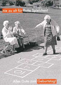 Lustige Grußkarte zum Geburtstag – Nie zu alt für flotte Spielchen! Alles Gute zum Geburtstag!