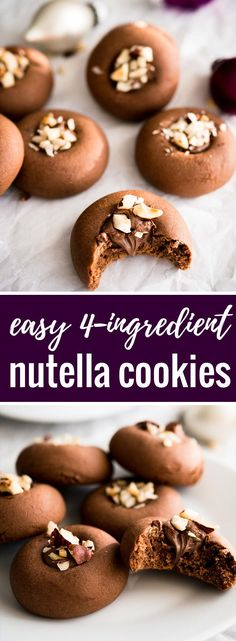 These Nutella Cookies are SO easy and quick to make! You only need FOUR ingredients to make these hazelnut spread stuffed cookies. Nutella Cookies Easy, Nutella Biscuits, Yummy Cookies, Chocolate Chip Cookies, Hazelnut Cookies, Chocolate Bars, Delicious Cookie Recipes, Nutella Recipes, Sweet Recipes