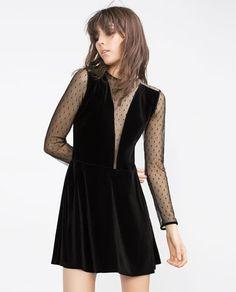 Image 2 of VELVET PLUMETIS DRESS from Zara