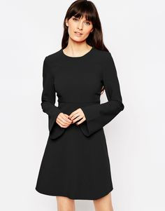 Image 1 ofASOS 60's Babydoll Dress with Fluted Sleeves