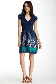 FEM Max Studio Smocked Jacquard Print Dress