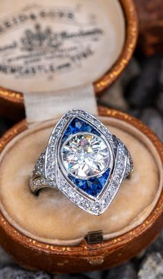 02d7f5ae0 Antique Old Euro Diamond Ring w/ Sapphires North South Navette