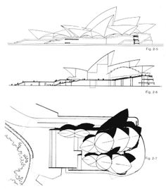 The Sydney Opera House was designed by Jørn Utzon and built from 1959 to 1973 Opera House Architecture, Zaha Hadid Architecture, Architecture Drawings, Concept Architecture, Architecture Design, Sydney, Sidney Opera, Jorn Utzon, Section Drawing