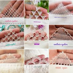 I have prepared a collage of mountain models I igneoyasıd love . Crochet Lace Edging, Crochet Borders, Irish Crochet, Filet Crochet, Needle Tatting, Needle Lace, Hand Embroidery Dress, Embroidery Stitches, Tatting Patterns