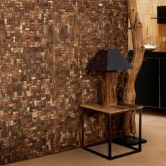 Wooden Bark Mosaic 17 x 17 in. Coconut Wall Tile - Set of 6   Find it at the Foundary, Natural wall tiles $122