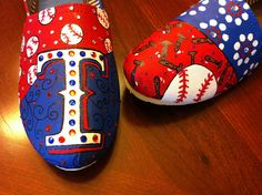 Texas Rangers hand painted Toms by BlingShoes on Etsy