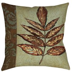 Golden Leaf 2 Printed Throw Pillow