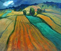 Miroslav Bucher olej 90x110Portret zeme-urodné polia Miro, Painting, Pulley, Painting Art, Paintings, Paint, Draw