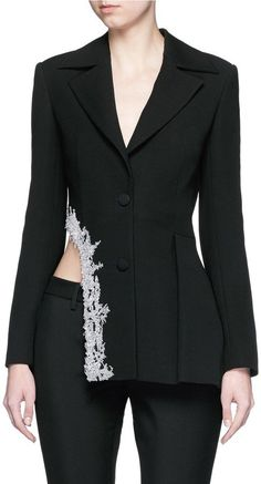 Pin for Later: A Tux Jacket Makes Every Outfit Look Instantly Chic Jinnnn Asymmetric Swarovski Crystal Trim Tuxedo Jacket Jinnnn Asymmetric Swarovski Crystal Trim Tuxedo Jacket Suit Fashion, Runway Fashion, High Fashion, Fashion Dresses, Tuxedo Dress, Tuxedo Jacket, Tuxedo Suit, Suits For Women, Women Wear
