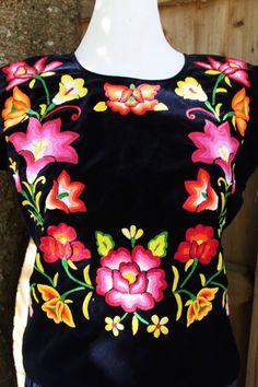 Hermosa Tehuana México Terciopelo Azul de medianoche Floral huipil-Frida Kahlo Estilo