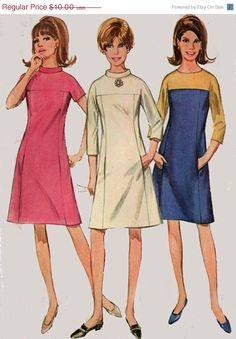 ON SALE Vintage 60s Sewing Pattern Simplicity 7196 by sandritocat, $8.50 I love this pattern! Reminds me of That Girl! ~*~
