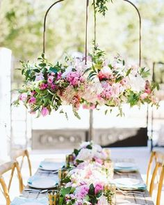 Whimsical + outdoor wedding reception decor - hanging, pink + white floral chandelier {The Flower Girl} Outdoor Wedding Reception, Wedding Reception Decorations, Wedding Themes, Wedding Table, Table Decorations, Garden Wedding, Garden Decorations, Reception Seating, Summer Wedding