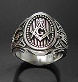Cigar Band Style Sterling Silver Men's Masonic Freemason Ring