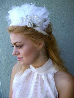 White feathers elaborate Wedding headdress by ArieleSierraDesigns, $54.00