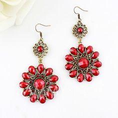 $4.33 Pair of Chic Style Faux Gem Openwork Flower Shape Drop Earrings