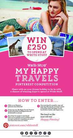 Here's all you need to know to enter! My Happy Travels Winter Fun, Winter Travel, Perfect Capsule, Competitions Uk, Holiday List, White Stuff, Dream Garage, Marketing Ideas, Pinterest Board