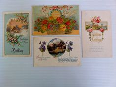4  Vintage Antique Birthday Postcards.  Winter scenes, flowers, Snow and cottages.  Offered by AntiqueCarla@etsy.com   $5.50