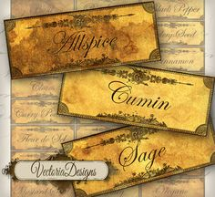Grunge Spice and Herbs Labels printable images digital collage sheet 095. $3.20, via Etsy.