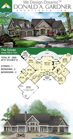 House Plans - The Sylvan - Home Plan 1321 Brick House Plans, Large House Plans, Open Floor House Plans, Sims House Plans, Porch House Plans, Basement House Plans, House Plans One Story, Bedroom House Plans, Craftsman House Plans
