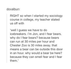 Pinning this just because I think it's hilarious how he sounds just like Dwight Schrute. Except for the allowing the bear to smell his fear. Even read it in his voice xD.                       ^THIS