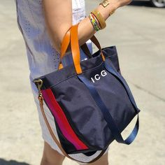 The lil EASY- navy canvas-with red and pink side stripe - Parker Thatch Tote Bags, Diy Tote Bag, My Bags, Purses And Bags, Simple Bags, Easy Bag, Denim Handbags, Linen Bag, Denim Bag