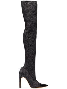 Givenchy Bota Over The Knee Com Glitter - Farfetch Stiletto Heels, High Heels, Shoes Heels, Givenchy, Versace Heels, Bota Over, Glitter Boots, Slouchy Boots, Cute Boots