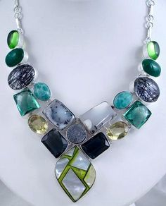 Designer Gemstone Necklace Multi Gem Mosaic