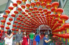 Impressive view of red at the front entrance to Chinese New Year Decorations, New Years Decorations, 2015 Chinese New Year, Cny, Front Entrances, Pavilion, Lanterns, Centre, Blog
