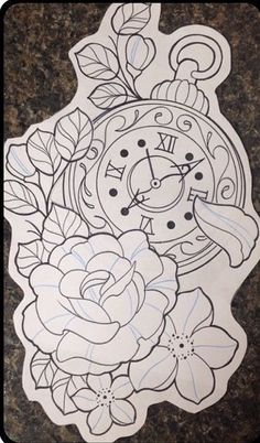 ideas tattoo compass clock drawings for 2020 Clock Tattoo Design, Sketch Tattoo Design, Tattoo Sketches, Tattoo Drawings, Tattoo Designs, Time Tattoos, New Tattoos, Body Art Tattoos, Sleeve Tattoos