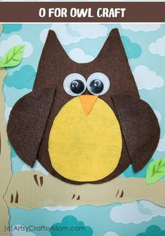 Make this adorable O for Owl Craft using our Printable Template that's perfect for learning about nocturnal creatures, birds of prey or a wildlife lesson. Animal Crafts For Kids, Crafts For Kids To Make, Craft Activities For Kids, Toddler Crafts, Preschool Crafts, Preschool Letters, Toddler Activities, Alphabet Crafts, Bird Crafts