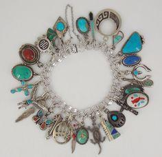 Vintage Old Pawn / Southwestern Sterling Turquoise & Coral Charm Bracelet
