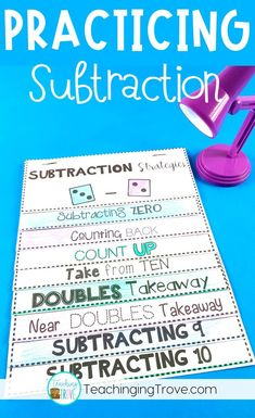 Strategies That Will Make Subtraction Easy Teach your students subtraction strategies.Teach your students subtraction strategies. Teaching Subtraction, Subtraction Strategies, Subtraction Activities, Teaching Math, Addition Strategies, Numeracy, Teaching Time, Teaching Technology, Multiplication