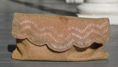 Gold Beaded Clutch Vintage Formal Wear by PrimaDonnaBoutique, $35.00
