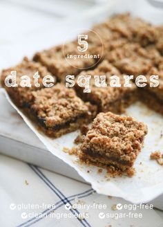 Delicious 5 Ingredient Vegan & Gluten-free Healthy Date Squares. Natural ingredients, nut-free and refined sugar free.