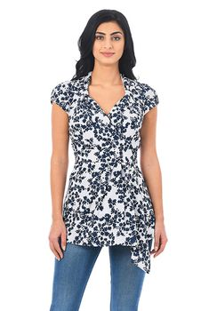 7e6990f4382 Floral print faux wrap crepe blouse-CL0054672 Tied Shirt