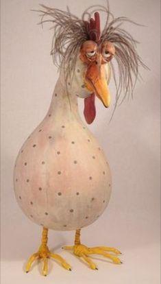 Bird Gallery 3 — Jen's Wild Gourds – manualidades – tafel Chicken Crafts, Chicken Art, Chicken Drawing, Paper Mache Crafts, Clay Crafts, Paper Mache Sculpture, Sculpture Art, Hand Painted Gourds, Gourd Art