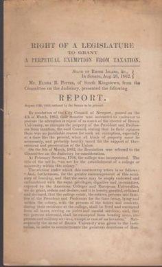 Original 1862 Report to the Senate by Mr. Elisha R. Potter of Rhode Island