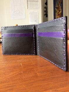 Men's Wallet with a twist Purple And Black, Hand Stitching, Entrepreneurship, Kangaroo, Leather Wallet, Im Not Perfect, Take That, Handmade, Etsy