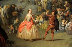 Detail of couple dancing, with musicians in the background, and children playing. The Fair at Bezons Jean Baptiste Joseph Pater (French, Valenciennes 1695–1736 Paris) ca. 1730, MET, NYC
