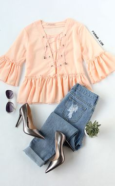 Cute Style from romwe.com - Pink Lace Up Ruffle Blouse with soft material and special design