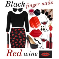Black Finger Nails, Red Wine by the-retro-radio on Polyvore