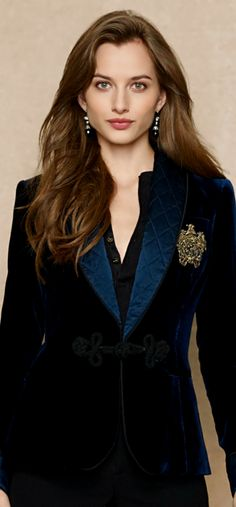 Ralph Lauren ●Embroidered Velvet Jacket