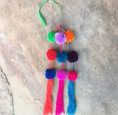 Mexican Rainbow PomPoms / Mexican Decor by LaManoIndigena on Etsy
