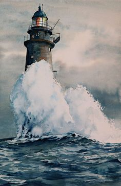 Minot Lighthouse ~ LOVER'S LIGHT  the story of 143 ~ watercolor by Thomas Needham