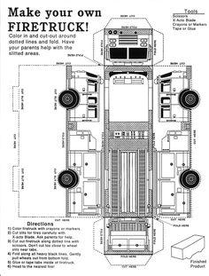 u s fire administration free printable kids firetruck foldup rh pinterest com  kid trax fire truck schematic
