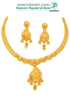 22K Gold Necklace & Earrings Set - GS2613 - Indian Jewelry from Totaram Jewelers